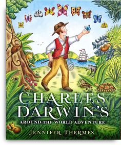 Jennifer Thermes's CHARLES DARWIN'S AROUND-THE-WORLD ADVENTURE incorporates magnificent maps and illustrations with a brightly colorful palette, following Darwin as he discovers (and eats) new animals, experiences earthquakes, volcanic eruptions and tidal waves and discovers fossilized sea shells in the mountains of the Andes. Endpapers, author notes and fun facts round out this superb picture book.
