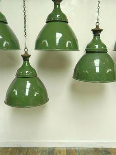 Large Green Industrial pendants  (England)