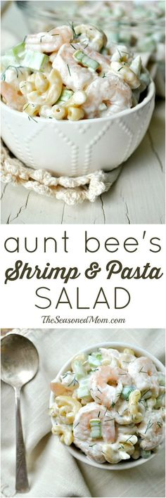 (Recipe Full of simple and fresh ingredients, Aunt Bees Shrimp and Pasta Salad has been a family-favorite for decades! Its the perfect side dish for your next cookout, an easy option for a weeknight dinner, or a refreshing make-ahead lunch option. Fish Recipes, Seafood Recipes, Pasta Recipes, Great Recipes, Cooking Recipes, Recipies, Cold Shrimp Salad Recipes, Healthy Recipes, Shrimp Salads