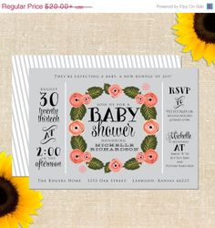 ON VACATION SALE Rings N' Roses Baby Shower Invitation Diy Printable