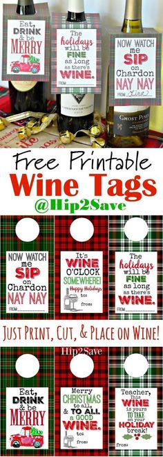 Printable Holiday Wine Tags (Easy Gift Idea) So fun for the upcoming Holidays! Perfect for a hostess gift or Christmas gifts for family & friends.So fun for the upcoming Holidays! Perfect for a hostess gift or Christmas gifts for family & friends. Family Christmas Gifts, All Things Christmas, Gifts For Family, Christmas Holidays, Christmas Crafts, Christmas Ideas, Christmas Wine, Handmade Christmas, Christmas Gifts For Neighbors