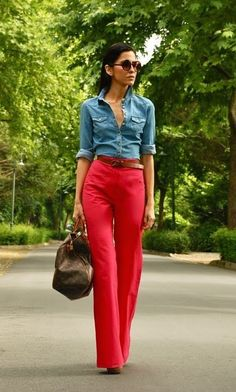 red pants outfit - Google Search