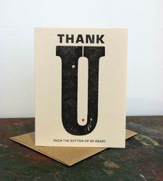 Heart Thank You Letterpress Card