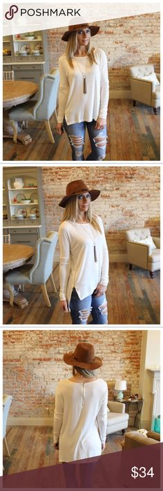 """Ivory Zipper Detail Long Sleeve Tunic Ivory Zipper Detail Long Sleeve Tunic  Modeling size small.   95% rayon 5% spandex   bust laying flat pit to pit: S 20"""" M 21"""" L 22""""   length S 26/29"""" M 27/30"""" L 28/31"""".   Add to bundle to save when purchasing. IRPD3010105.RT8628 Infinity Raine Tops Tunics"""