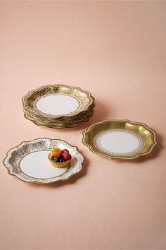 Gold Porcelain Paper Dessert Plates (set of 12) from @BHLDN : paper plates for wedding reception - pezcame.com