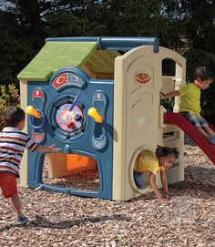 Fun in your backyard with the Step2 Neighborhood Fun Center. This playhouse with slide even has a built-in picnic table!