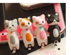 5pcs beautiful Japan Cheese Cat  Anti Dust Ear Cap For i Phone 4G 5s Dust plug
