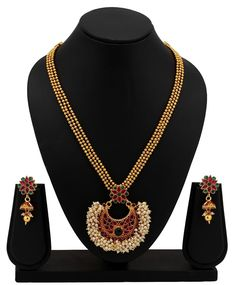 VeroniQ Trends - Traditional Gold Plated Necklace Set for WOMEN- Ethnic, Culture, South indian jewe, South Indian Jewellery, Indian Jewelry, Necklace Set, Beaded Necklace, Gold Plated Necklace, Jewelry Trends, Gold Jewelry, Ethnic, Plating