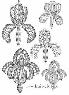 Beautiful Irish Crochet flower diagrams.