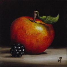 """Little Apple and Blackberry No. 4"" - Original Fine Art for Sale - © Jane Palmer"