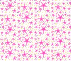 floating pink stars fabric by jellybeanquilter on Spoonflower - custom fabric