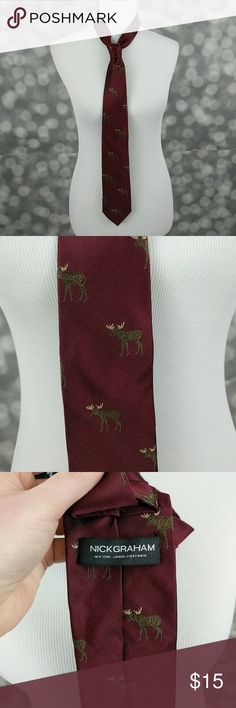 """Nick Graham Silk Moose Tie Brand new without tags! Burgundy silk tie from Nick Graham with moose pattern. Mixing 2 parts tradition, 2 parts attitude and 1 part pure fun, Nick Graham produces what it calls """"Post-Prep"""" modern menswear. Borrowing British menswear styles and American styling, Nick Graham has perfectly updated pieces for any wardrobe. Nick Graham Accessories Ties"""