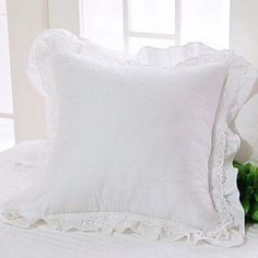 Luxury Bedding Sets On Sale Product Ruffle Pillow, Ruffle Bedding, Lace Ruffle, Cotton Lace, White Cotton, Linen Bedding, Cheap Bedding Sets, Bedding Sets Online, Luxury Cushions