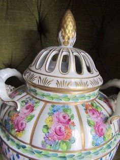 Antique Dresden Porcelain Large Covered Urn Pot Purri Rams Heads Perfect 1 of 2 2 • £350.00