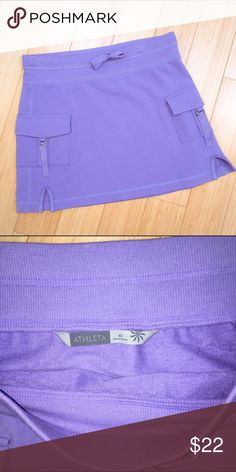 "ATHLETA knit skirt, XS, S. Cute purple skirt by Athleta, made out of a sweatshirt material. Excellent condition. Tagged an XS but check measurements. Waist elastic 15"", length 15"". Athleta Skirts Mini"