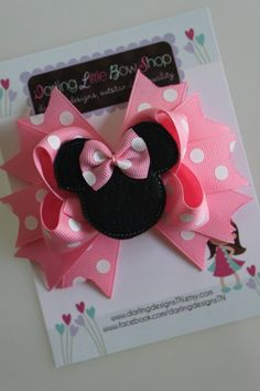 Minnie Mouse Bow - Light Pink Minnie Mouse Bow - Darling Little Bow Shop