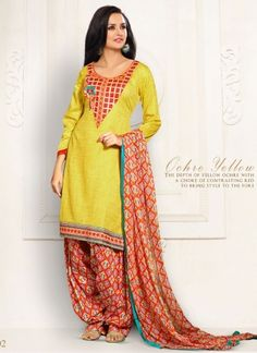 Angelic Yellow And Contrasting Red Festival Wear Patiala Suit