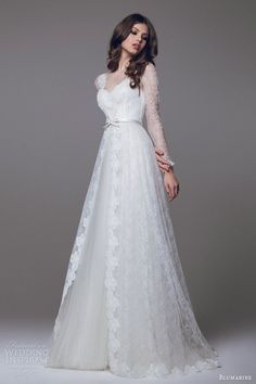 blumarine 2015 bridal wedding dress long sleeve lace overlay #wedding #dress #bride