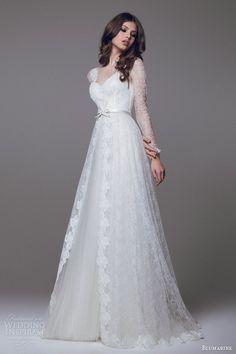 blumarine 2015 bridal wedding dress long sleeve lace overlay #wedding #dress #bride