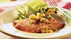 Grilled Salmon Fillets with Peach Nectarine Salsa