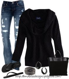 """Got to wear flip flops today with a sweater yay"" by amabiledesigns on Polyvore"