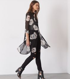 Floral Button Up Maxi Tunic