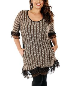 Love this Brown & Black Stripe Lace Tunic - Plus by Lily on #zulily! #zulilyfinds
