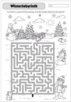 Wintery Labyrinth This year, I have again entered the Advent Calendar. Kids Activities At Home, Mazes For Kids, Printable Puzzles For Kids, Color Activities, Christmas Activities, Preschool Coloring Pages, Coloring For Kids, Coloring Books, Colouring
