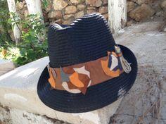 Summer hats Black on brown leather strap gamzegedesignstudio.com