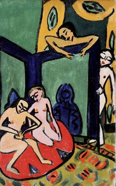 """Often the standout paintings have the economy of woodcuts. In the show's array of nudes, the four spritely nudes of Heckel's """"Studio Scene"""" of might almost be little paper dolls pasted to the surface. Ernst Ludwig Kirchner, Dresden, Pinturas Art Deco, Ludwig Meidner, Karl Schmidt Rottluff, Modern Art, Contemporary Art, George Grosz, Munich"""