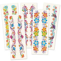 Baker Ross Glitter Flower Wrist Temporary Tattoos, For Kids To Wear, For Party Bag Fillers and Small Toys for Kids (Pack of Wrist Band Tattoo, Flower Wrist Tattoos, Halloween Treats For Kids, Glitter Flowers, Tattoos For Kids, Party Bag Fillers, Baby Oil, Holiday Themes, Nail Care