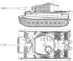 TIGER - Panzer schematic, port and top view. Army Vehicles, Armored Vehicles, Rc Tank, Tank Drawing, Military Drawings, Tank Armor, Tiger Ii, Tiger Tank, Model Tanks