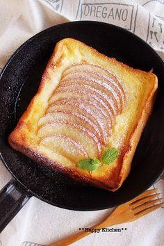 トースターで*乗せて焼くだけ♪ オープンアップルパイ風フレンチトースト ◎りんご お菓子◎