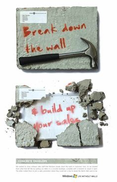 break down the wall Direct Mail Advertising, Direct Marketing, Marketing Ideas, Advertising Design, Direct Mail Design, Cv Original, Software Sales, Direct Mailer, Banners