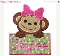 ON SALE 30 OFF Girl Monkey Machine by SimplySweetEmbroider on Etsy, $2.80