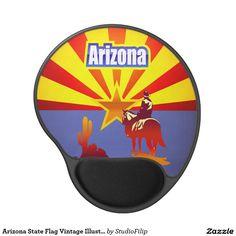 Arizona State Flag Vintage Illustration Gel Mouse Pad