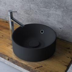 Vasque à poser résine de synthèse Diam.38 cm noir, SENSEA Capsule