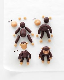 These adorable, edible marzipan cake toppers aren't too hard to make -- all it takes is patience.To make the animals, combine marzipan with gel food coloring, and use the photos as a guide.