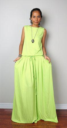 Sleeveless Dress   Bright Yellow / Green Dress  by Nuichan on Etsy