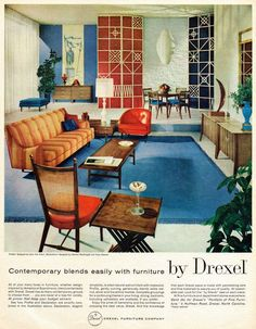 Contemporary furniture by Drexel and Cigar pendant lamp, 1959 | http://modernica.net/cigar-lamp.html