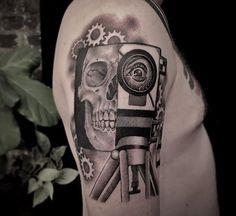 Skull tattoo by Christina Ramos at Memoir Tattoo