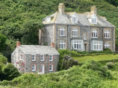 """Port Isaac, Cornwall, """"Doc Martin's"""" house on the left."""