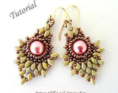 PINEAPPLE superduo beading tutorials and pattern beadwork beaded earrings seed bead jewelry beadweaving tutorial beading pattern instruction