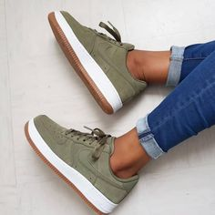 "Nike Air Force 1 ""Olive Gum"" the colorway looks really bomb Link in organic pa . Nike Vans, Crazy Shoes, Me Too Shoes, Design Nike, Aesthetic Shoes, Hype Shoes, Fresh Shoes, Trendy Shoes, Nike Sportswear"