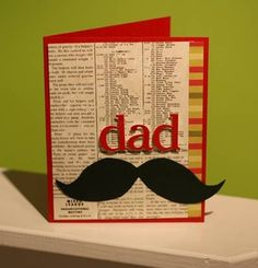 Father's Day Card by Peterson Peterson Change background to a dad wordcloud, fonts. Include dad in red, add mustache. Cute Cards, Diy Cards, Mustache Cards, Scrapbook Cards, Scrapbooking, Small Photo Albums, Paper Crafts Magazine, Card Making Tips, Creative Gift Wrapping