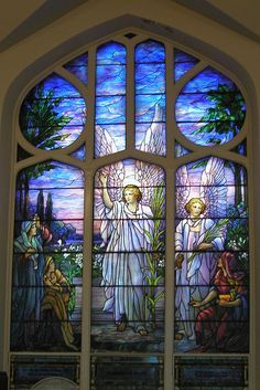 Stunning religious Tiffany stained glass window...