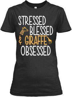 Giraffe!! - Stressed Blessed Giraffe Obsessed Gildan Women s Tee T-Shirt