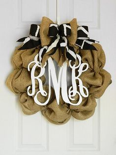 Monogram front door wreath