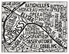• TYPOGRAPHIC LINOCUT MAP OF PARIS ARRONDISSEMENTS • 2012, design by ABIGAIL DAKER •