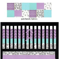 purple and turquoise nursery bedding | Custom baby bedding - Aqua, Purple and Grey